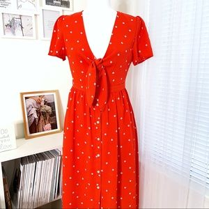 Everly Poppy Red Polka Dot Bow Tie Midi Dress 6